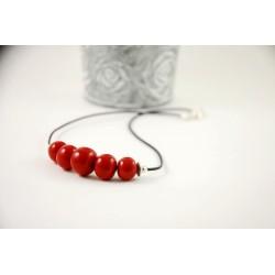 Collier de 5 perles artisanales rouges en céramique